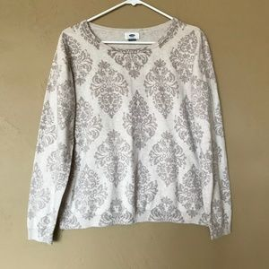 Old Navy Cream Brocade Sweater, XL